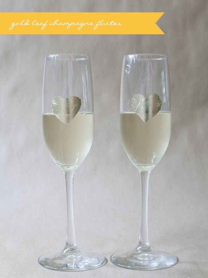 gold leaf champagne flutes | Glamour & Grace