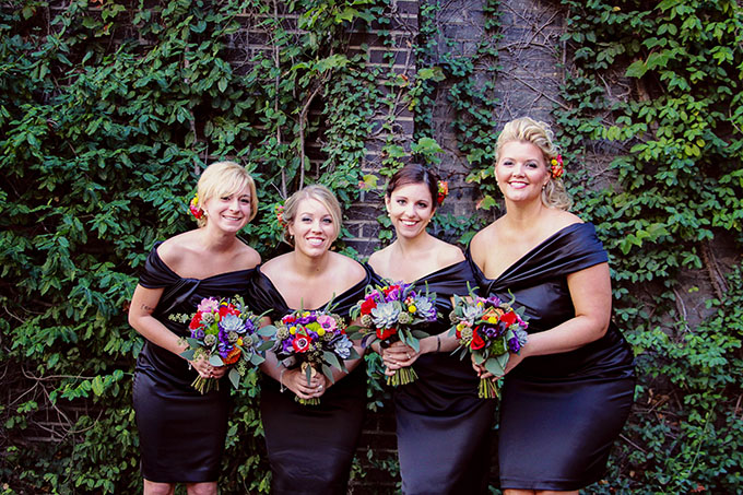 chic black bridesmaids with colorful bouquets | markit photography