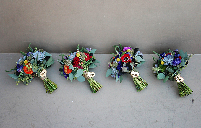colorful bridesmaid bouquets | markit photography