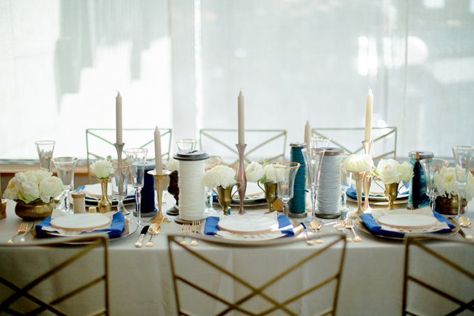 handmade blue and gold wedding inspiration | Kristin La Voie Photography