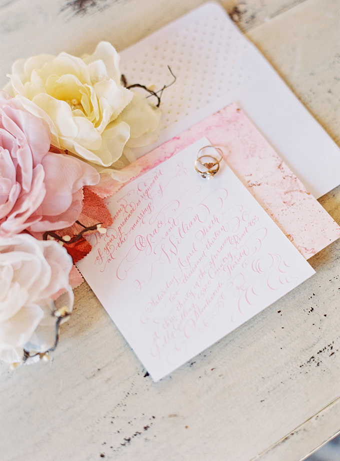 pink calligraphy invitation | Michelle March Photography | Glamour & Grace