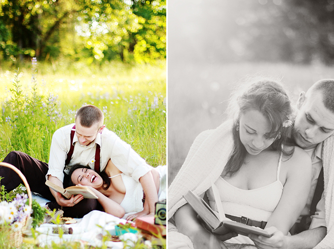 vintage picnic engagement | Kaelyn Elizabeth Photography