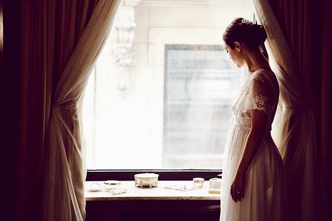bride getting ready | Christina Esteban and Jeremy Bobrow