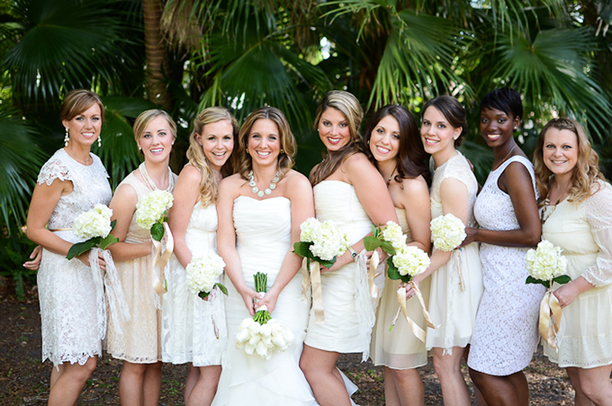 cream and white bridesmaids | Kortni Marie Photography