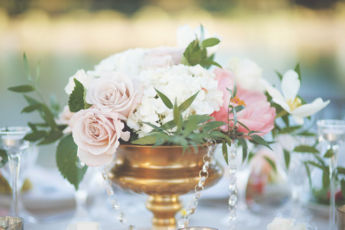 romantic pink and gold centerpieces | Emily Heizer Photography