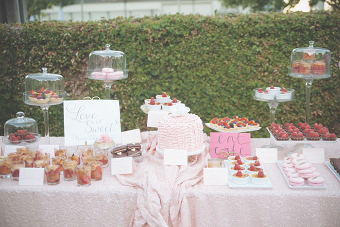 pink and gold dessert table | Emily Heizer Photography