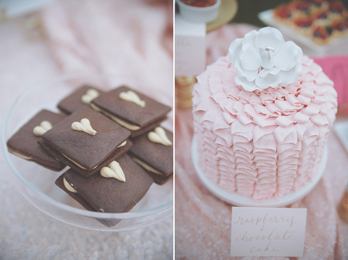 pink ruffle cake and heart cookies | Emily Heizer Photography