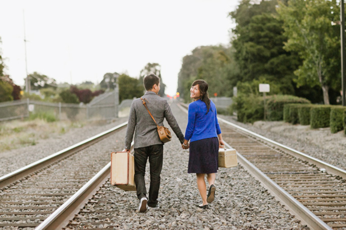 vintage travel themed engagement | Jasmine Lee Photography