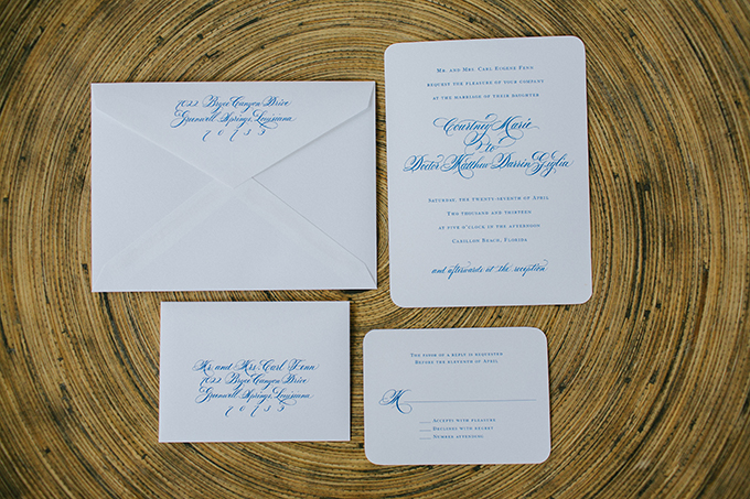 white and blue invitations | pure7studios