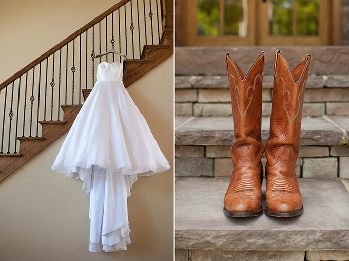 cowgirl boots and a wedding dress   Chesley Summar Photography