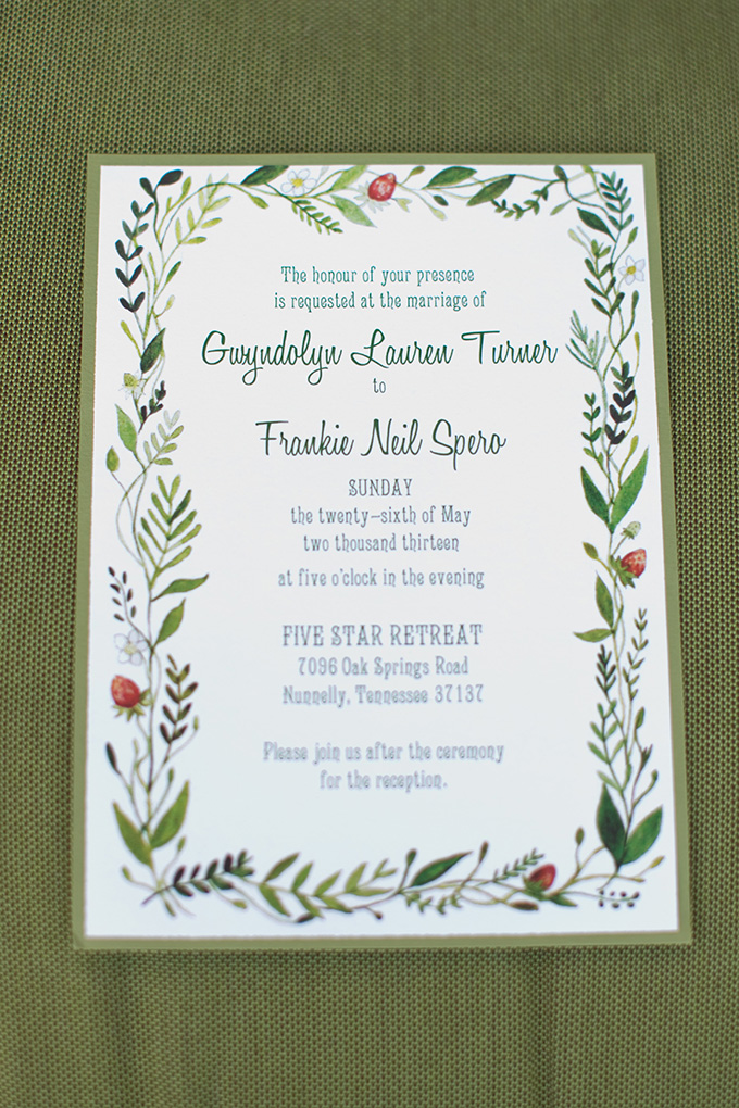 summer green wedding invitation | Chesley Summar Photography