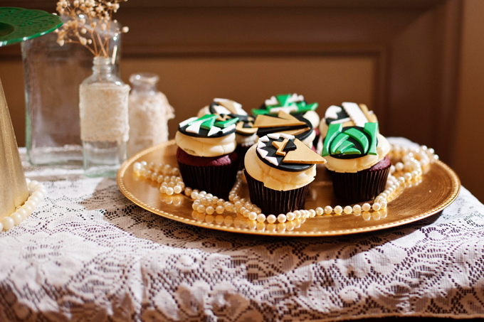 art deco emerald and gold cupcakes | Ellen Bucher Photography