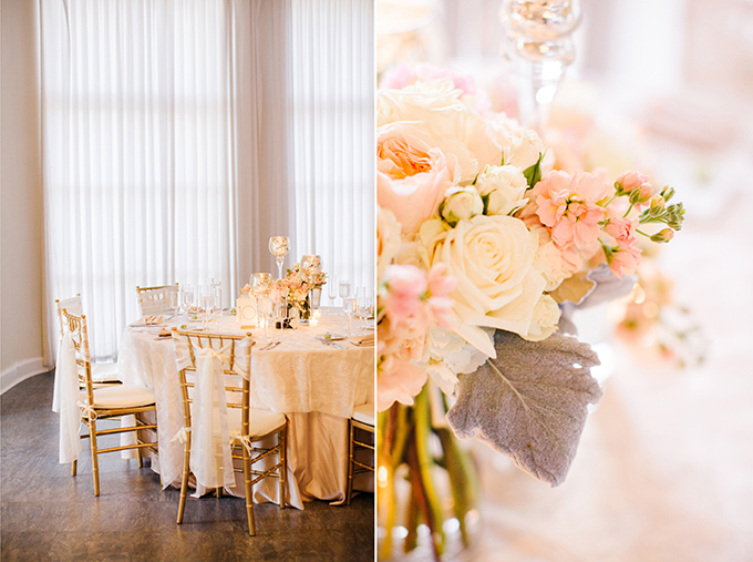 glam blush centerpieces | Elaine Palladino Photography