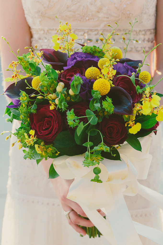 yellow and purple bouquet | Hom Photography