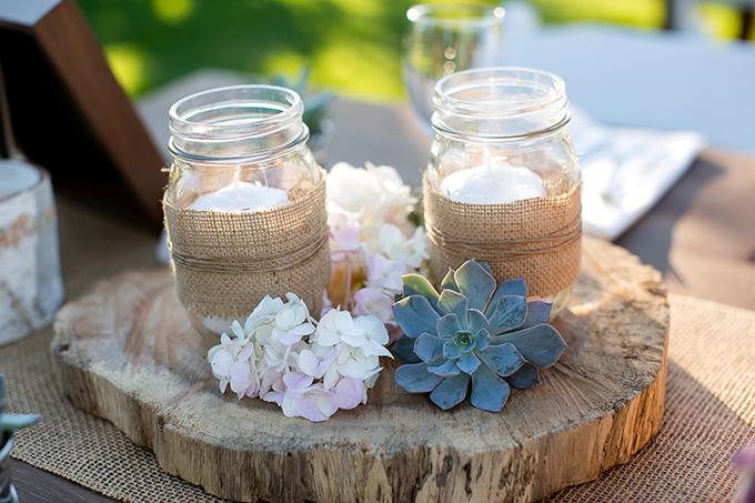 mason jar and succulent centerpieces | Orbie Pullen Photography
