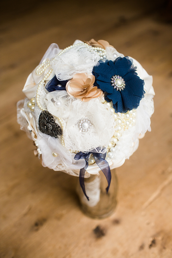blue and white fabric bouquet | Brianna Wilbur Photography