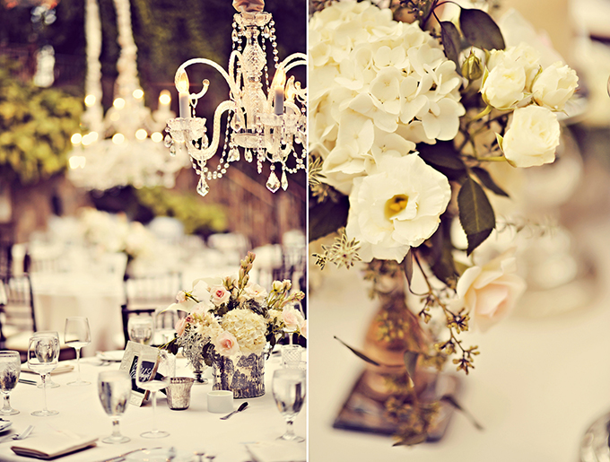 vintage white and pink centerpieces | Tamiz Photography