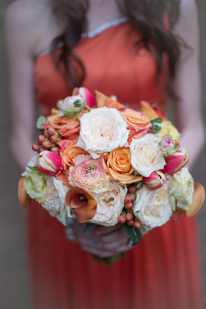 orange bouquet | Christine Sara Photography | Glamour & Grace