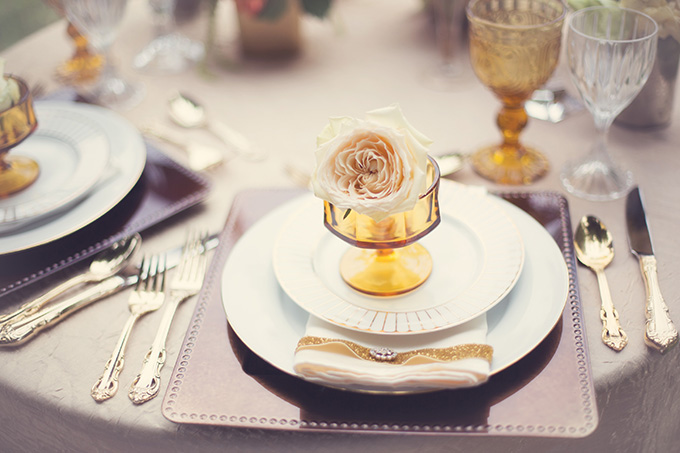 rose place setting | Christine Sara Photography | Glamour & Grace