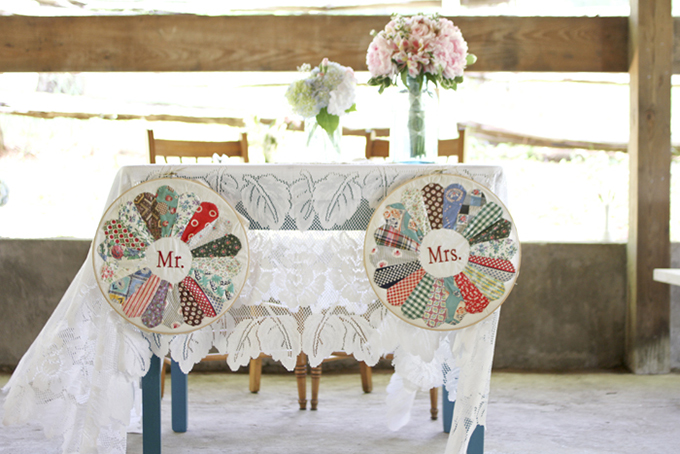 quilted Mr & Mrs signs | Holly Cromer Photography | Glamour & Grace