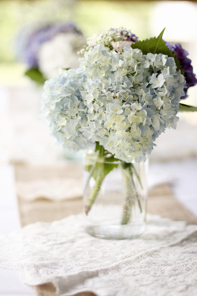 hydrangea and mason jar centerpieces | Holly Cromer Photography | Glamour & Grace