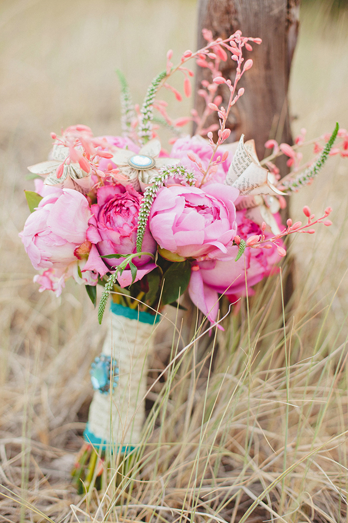 pink peony and paper flower bouquet | Denise Nicole Photography | Glamour & Grace