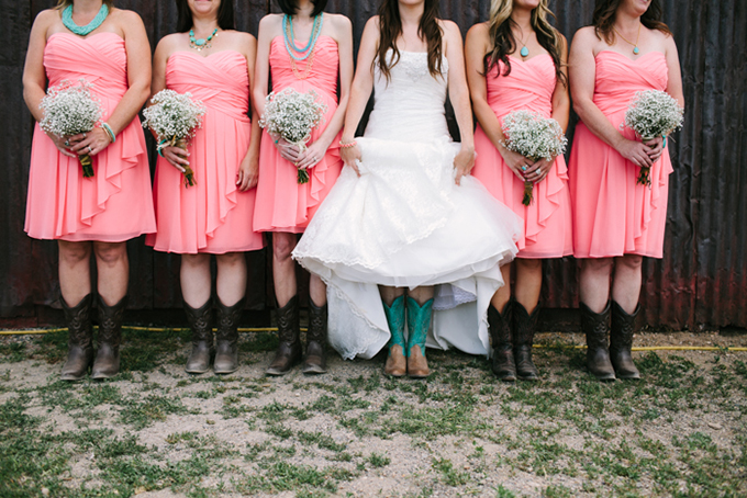 coral and turquoise bridesmaids | Joe+Kathrina | Glamour & Grace