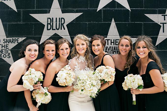 black bridesmaid dresses   Erin Johnson Photography   Glamour & Grace