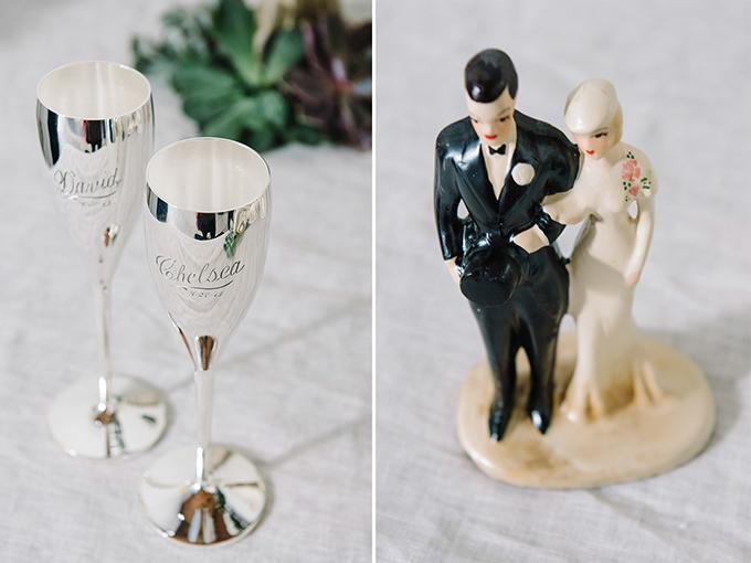 custom silver flutes and vintage cake topper | dear wesleyann | Glamour & Grace