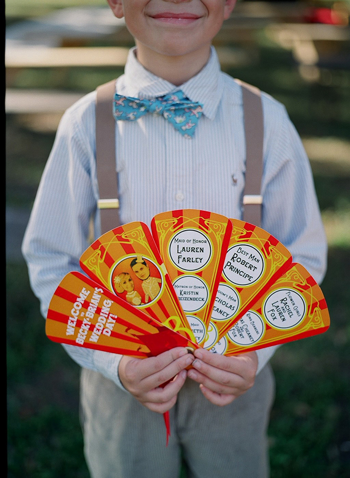 circus themed wedding program | Esther Louise Photography | Glamour & Grace