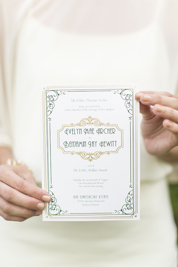 art deco wedding invitation | Mary Fields Photography | Glamour & Grace