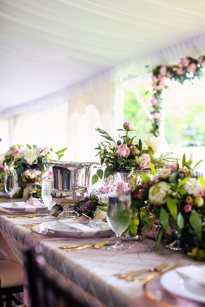 lush pink centerpieces | KaBloom Studios | Glamour & Grace
