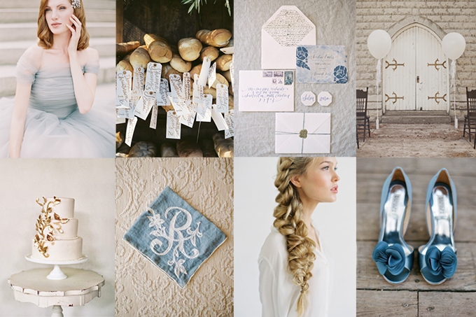 Dusty Blue And Gold Wedding Inspiration Glamour Grace