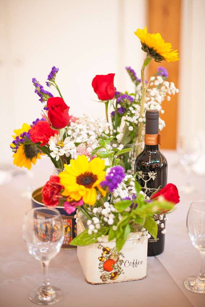 colorful tin can centerpieces | Stef Atkinson Photography | Glamour & Grace