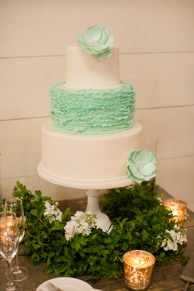 mint ruffle cake from Maliha Creations | Katelyn James Photography | Glamour & Grace