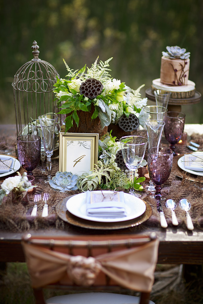 romantic forest centerpiece | Mischa Photography | Glamour & Grace