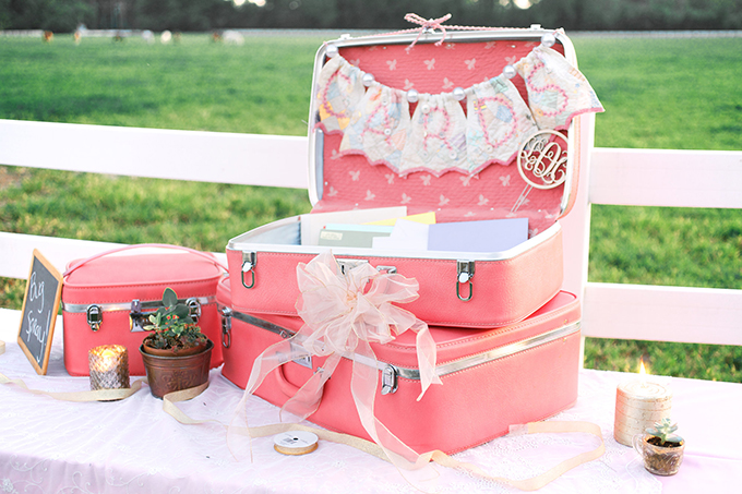 vintage suitcase card box | Kacie Lynch Photography | Glamour & Grace