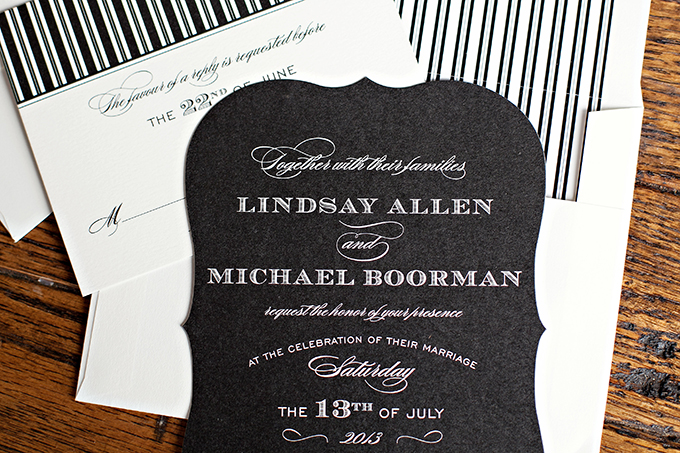 black and white wedding invitations | Paperlily Photography | Glamour & Grace