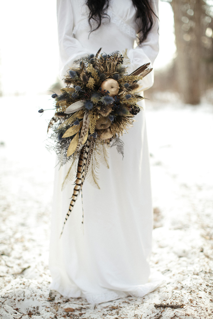 gold and blue rustic bouquet | Michelle Larmand Photography | Glamour & Grace