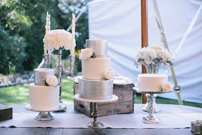 silver cakes | Katie Slater Photography | Glamour & Grace