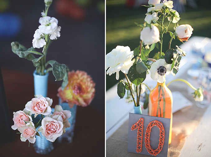 colorful handmade centerpieces | Nakalan McKay Photography | Glamour & Grace