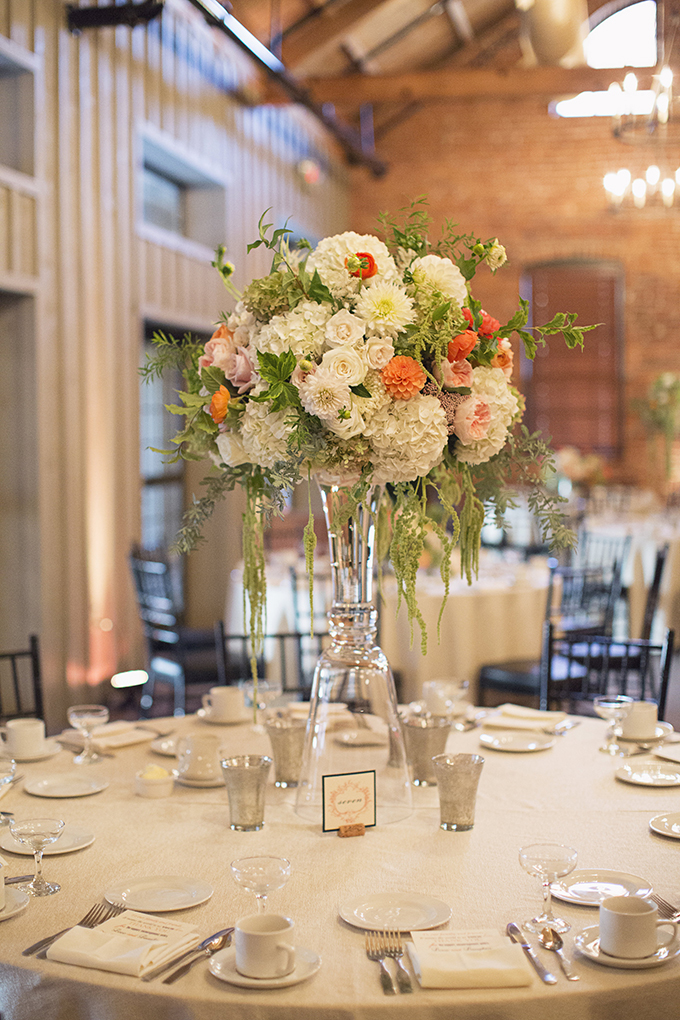 dramatic orange and green centerpieces | Brooke Courtney Photography | Glamour & Grace