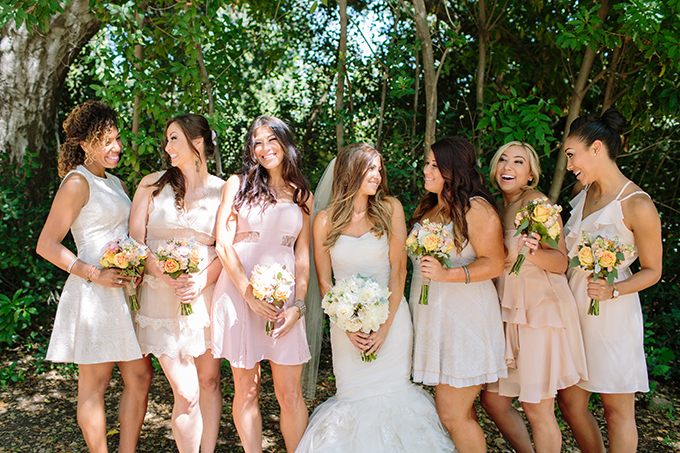 blush and neutral mismatched bridesmaids | Driver Photo | Glamour & Grace