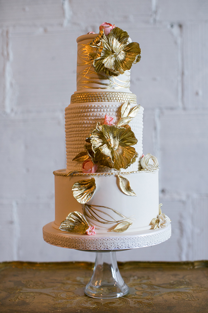 romantic gold cake by Patisserie 46 | Erin Johnson Photography | Glamour & Grace