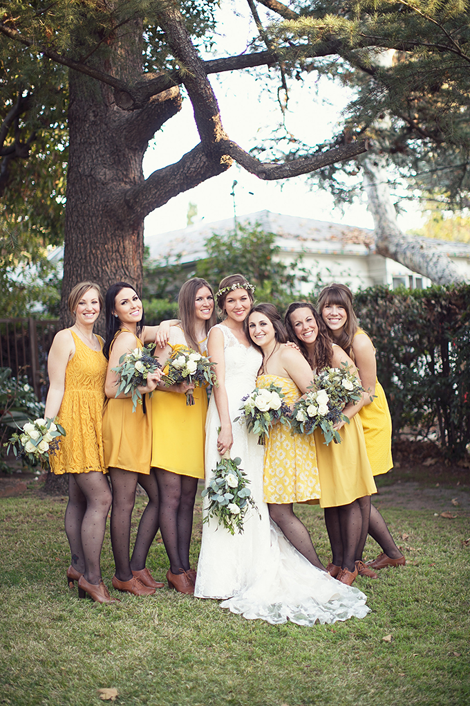 mismatched yellow bridesmaids | Lovers of Love | Glamour & Grace