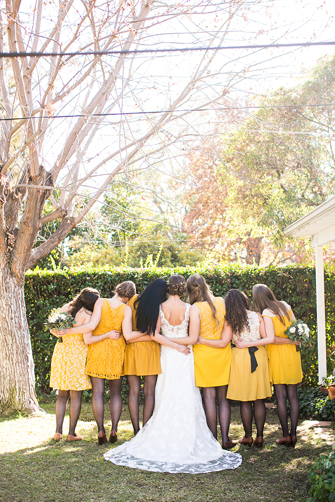 yellow bridesmaids with polka dot tights | Lovers of Love | Glamour & Grace