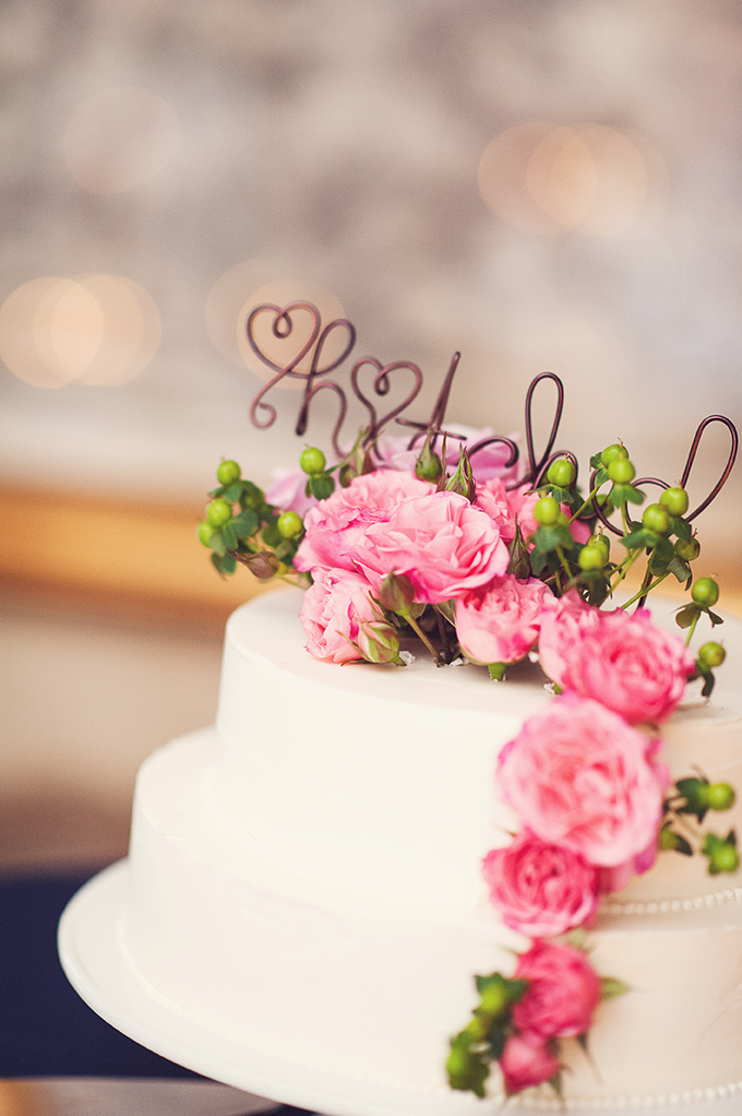 pink and white cake with cute 'hitched' topper   Sun & Sparrow Photography   Glamour & Grace