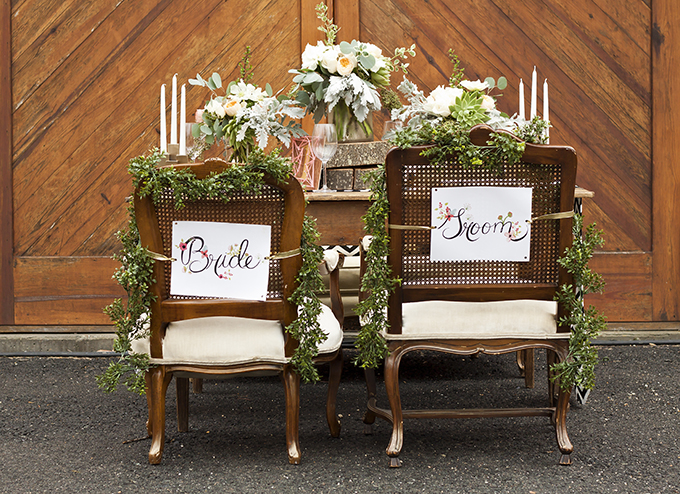 bride and groom chair signs | Candice Patrice Photography | Glamour & Grace
