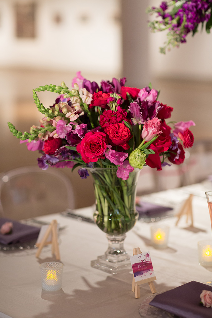 magenta and purple centerpieces | Asya Photography | Glamour & Grace