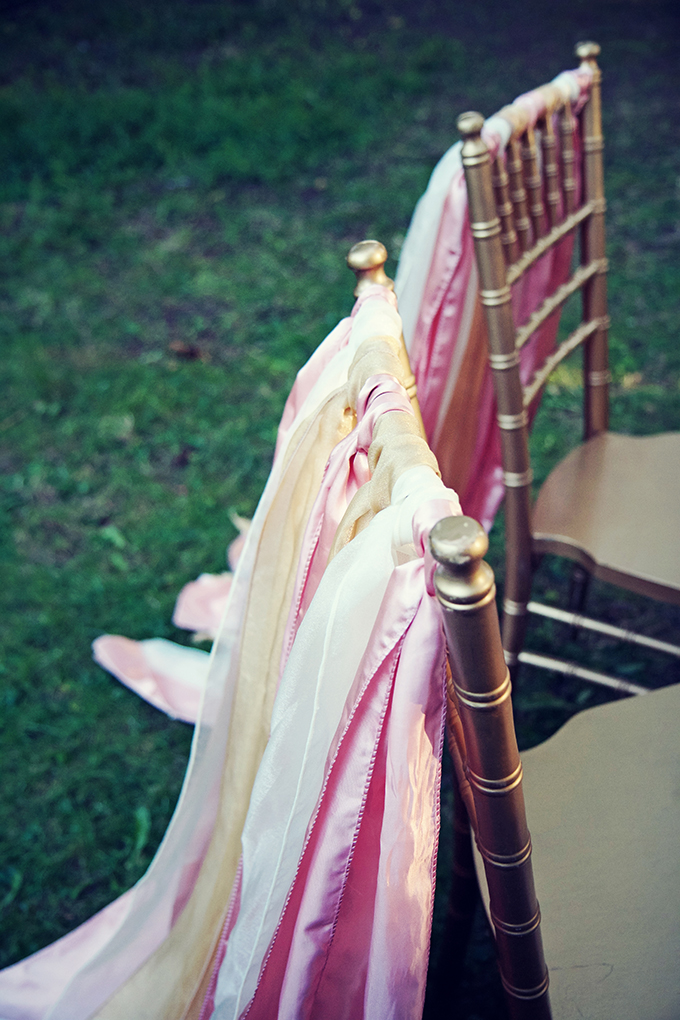 pink and gold chair ribbons | Marie Violet Photography | Glamour & Grace